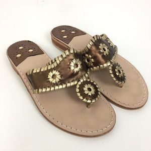 Jack Rogers Womens 6 Sandals Brown Gold Metallic
